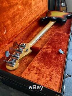 1966 Vintage Fender Jazz Bass Sunburst Rare Lollipop Tuners Fender Hard Case