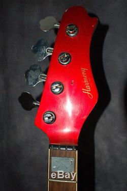 1980s Harmony Full Scale Red Bass Guitar Project Tuners Body Neck Luthier Parts
