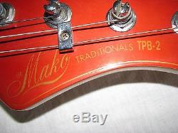 1980s MAKO Traditionals TPB-2 Bass Guitar Grover Tuners Large Brass Saddles