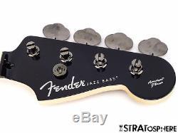 2016 Fender Aerodyne Jazz Bass NECK + TUNERS J Bass Guitar Parts Black
