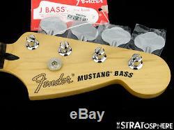 2017 Fender Mustang PJ Bass NECK & TUNERS Rosewood Bass Guitar 30 Scale