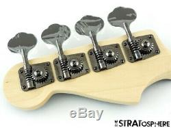 2020 Fender Aerodyne Jazz Bass NECK+ TUNERS Guitar Parts Modern, Black Headstock