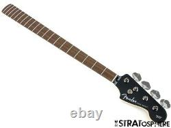 2021 Fender Aerodyne Jazz Bass NECK & TUNERS Guitar Parts Modern Black Headstock