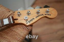 32 Med Scale Squier Classic Vibe Jaguar Bass Tuners Neck Plate Indian Laurel