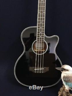 4/4 4-String Haze Black Acoustic Bass Guitar withEQ, Tuner+Free Gig Bag, Picks, Lead