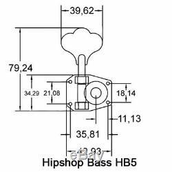 (4) Hipshot HB5 Black American Classic Tuners for Rickenbacker Bass Guitar