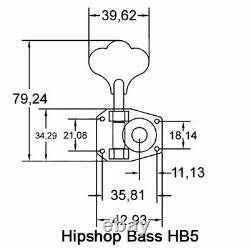 (4) Hipshot HB5 Gold American Classic Tuners for Rickenbacker Bass Guitar
