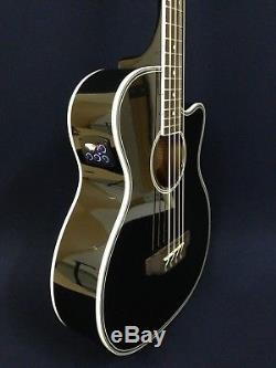 4-String Haze 3/4 Size Black Acoustic Bass Guitar withEQ, Tuner+Free Gig Bag, Picks