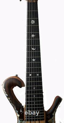 Antoniotsai -Planet inlay handmade-Mexico Bocote Elec 7 strings Guitar Bass 3617
