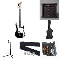 Baltimore BB-5 BLACK 4 String Electric Bass Pack + 15WAMP BAG STRAP STAND TUNER