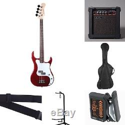 Baltimore BB-5 RED 4 String Electric Bass Pack + 15W AMP BAG STRAP STAND TUNER