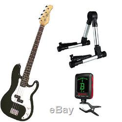 Bass Pack-Black Kay Bass Guitar Medium Scale withMeisel COM-80 Tuner & Silv Stand