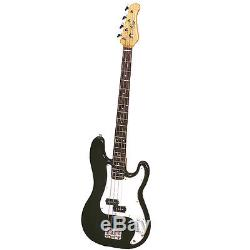 Bass Pack-Black Kay Bass Guitar Medium Scale withMeisel COM-90 Tuner & Red Stand