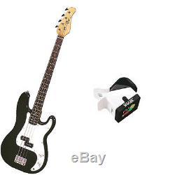 Bass Pack-Black Kay Electric Bass Guitar Medium Scale withSnark SN3 Tuner
