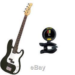 Bass Pack-Black Kay Electric Bass Guitar Medium Scale withSnark SN8 Tuner