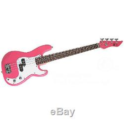 Bass Pack-Pink Kay Electric Bass Guitar Medium Scale with SN1 Tuner & Black Stand