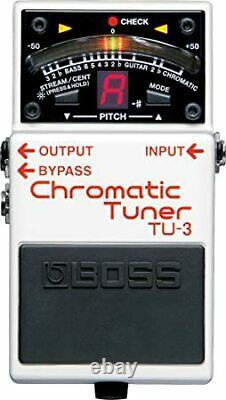 Boss TU-3 Chromatic and Guitar/Bass Mode LED Meter Tuner Stompbox White