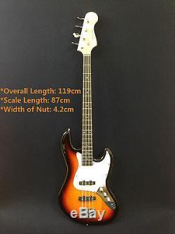 Caraya B-302PBS Jazz Bass Style Electric Bass Sunburst + Free gig bag, D-Tuner