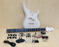 Complete NO-SOLDER DIY Kit- 4-String Electric Bass Guitar+Tuner, 3 Picks B-325DIY