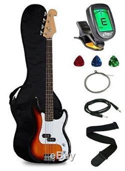 Crescent Electric Bass Guitar Starter Kit Sunburst Color Includes CrescentTM