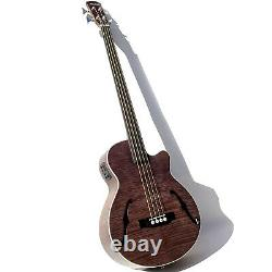 Custom Acoustic Electric Bass Cutaway Style/ F Holes/Fretless/EQ in VintageColor