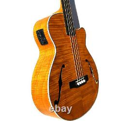 Custom Acoustic Electric Bass Cutaway Style with F Holes with Fretless with EQ