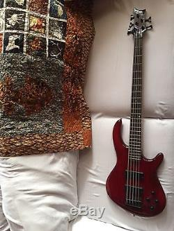 DEAN Edge 5 5-string BASS guitar Used Trans Red with Bag Grover Tuners