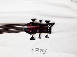 DEAN Edge 6 FRETLESS 6-string BASS guitar Trans Black E6 with CASE Grover Tuners