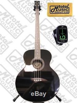 Dean 4 String Acoustic Electric Bass Classic Black FREE TUNER, CLOTH, EAB CBK P