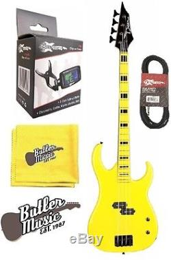 Dean CZONE BASS YEL Custom Zone Electric Bass Guitar withEffin Tuner & More