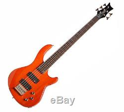 Dean E1 5 TAM Sealed Die Cast Tuners Bass With Trans Amber, Classic Black Finish