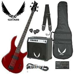 Dean Edge 09 Bass Guitar, Bass Amp, Gig Bag, Tuner, Cord, Strap, and Picks