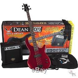 Dean Edge 09 Red Bass Guitar Beginner Pack- Amp Gig Bag Tuner Strap Picks Cord