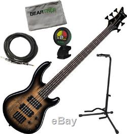 Dean Edge 2 5 String Charcoal Burst with polish cloth, stand, tuner, cable