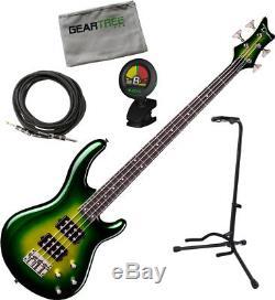 Dean Edge 3 Electric Green Metallic Burst with polish cloth, stand, tuner, ca