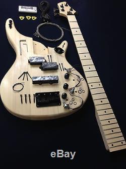 EB-302DIY Solid body Electric Bass Guitar DIY Kits withBonus Picks, Digital Tuner