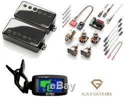 EMG 57 & 66 Black Chrome Humbucker Set Standard Spc Short Shaft Pots (EMG TUNER)