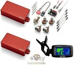 EMG 81 & 85 Red Active Humbucker Pickup Set Short Shaft Pots Wires (EMG TUNER)