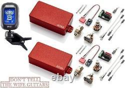 EMG 81 + 85 Red Active Humbucker Pickup Set Short Shaft Pots & Wiring (TUNER)