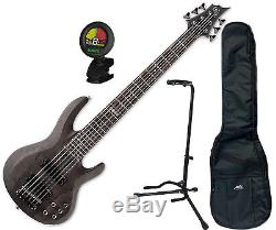 ESP LTD B-206 SM STBLKS 6 String Electric Bass with Gig Bag, Stand, and Tuner