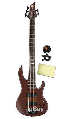 ESP LTD D5 5 String Electric Bass Guitar with Tuner and Cleaning Cloth