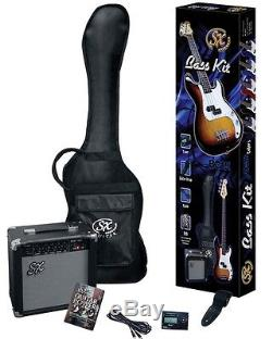 Essex Electric Bass Guitar & Amplifier Package Purple + Bag Strap Tuner Lead DVD