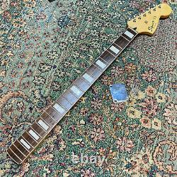 EXC Squier Bass VI Loaded Neck Tuners Plate Screws Block Inlays White Binding