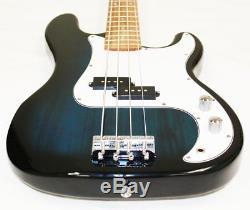 Electric Bass Guitar Starter Kit Transparent Blue Color + Amp tm Digital E-Tuner