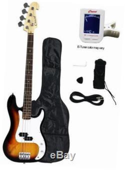 Electric bass guitar starter kit sunburst color includes crescenttm digital