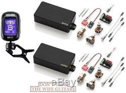 Emg 81 + 85 Black Active Humbucker Pickup Set Short Shaft Pots & Wiring (tuner)