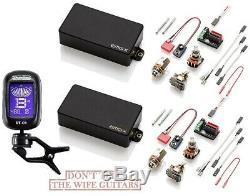 Emg 81x & 85x Black Active Humbucker Pickup Set Short Shaft Pots & Wires (tuner)