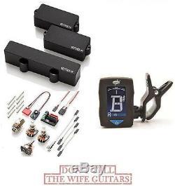 Emg Pjx Set Black P & Jazz J Bass Active Pickup Set Wires Pj-x (guitar Tuner)