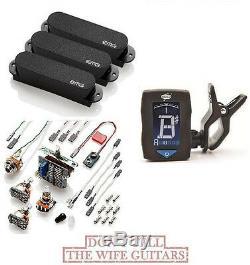 Emg Sa Set Black 3 Active Single Coil Strat Pickup Set Switch & Wiring (tuner)