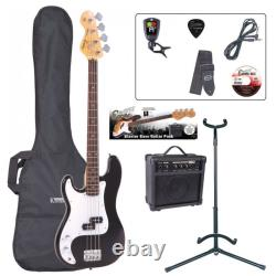 Encore E4 Bass Guitar Bundle Left Hand Black